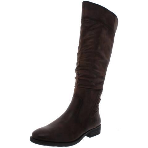 Baretraps Womens Averil Riding Boots Faux Leather Knee High