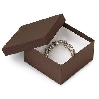 "Pack Of 100, Chocolate Kraft Jewelry Box W/Non-Tarnish Cotton 3.5 X 3.5 X 2"" Solid Made In Usa"