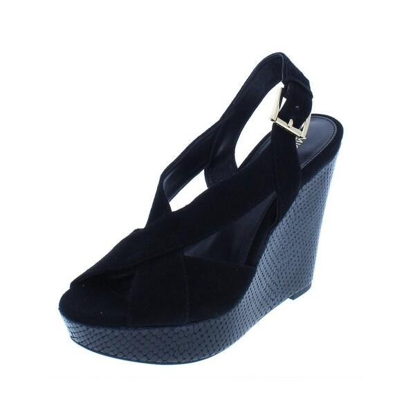 1ab54600a2a7 Shop MICHAEL Michael Kors Womens Becky Wedge Sandals Suede Peep-Toe ...