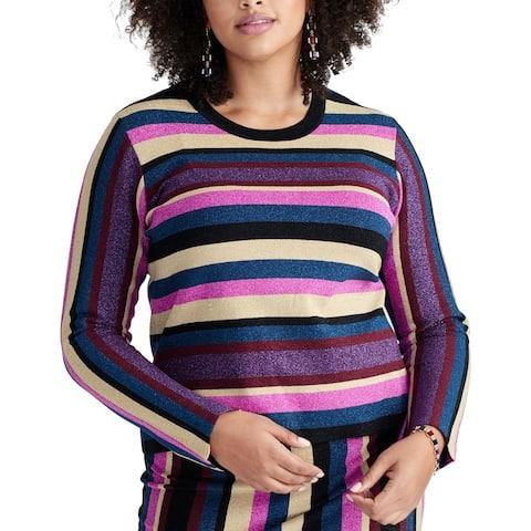 Rachel Rachel Roy Women's Sweater Purple Size 2X Plus Malibu Striped