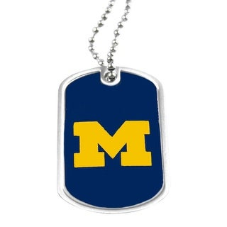 Michigan Wolverines Dog Tag Domed Necklace Charm Chain NCAA
