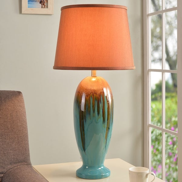 Bellmore Teal Ceramic Glaze 3-way 31.5-inch Table Lamp