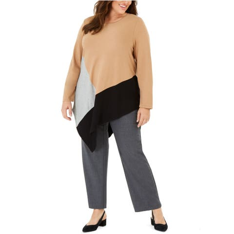 Alfani Plus Women's Colorblocked Asymmetrical Top, Caramel Syrup, 1X