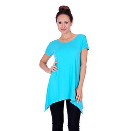 Simply Ravishing Women's Solid Sharkbite Short Sleeveless Dolman Tunic Top