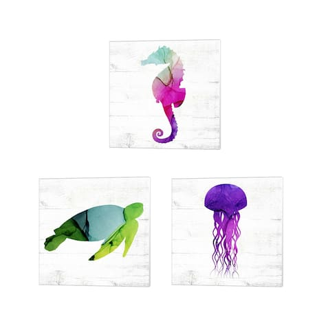 Valerie Wieners 'Seahorse, Sea Turtle & Jelly Fish' Canvas Art (Set of 3)