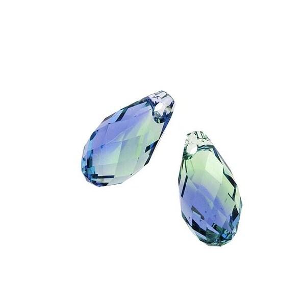 Swarovski Crystal, 6010 Briolette Pendants 11x5.5mm, 2 Pieces, Provence Lavender / Chrysolite Blend