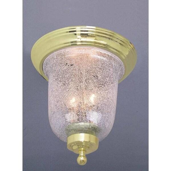 Volume Lighting V7170 2 Light Flush Mount Ceiling Fixture Clear Ribbed Glass Bel