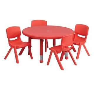 Offex 33'' Round Adjustable Red Plastic Activity Table Set with 4 School Stack Chairs