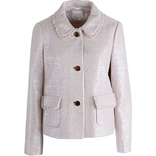 Kate Spade Womens Shimmer Coated Three-Button Blazer - 10
