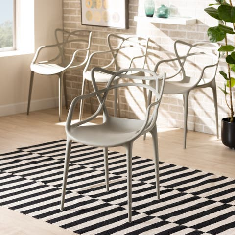 Landry Modern Stackable Plastic Dining Chair Set (4pc)