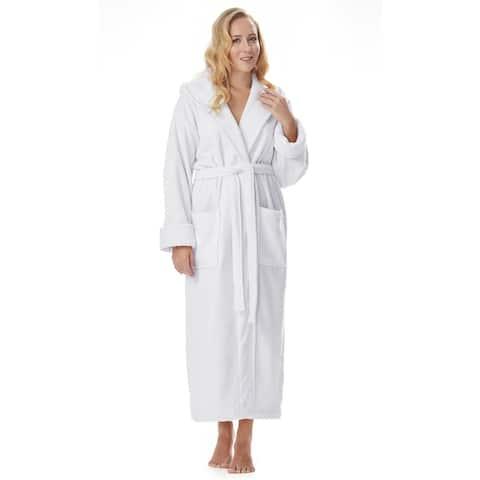 Women's Cotton Hooded Full Length Turkish Bathrobe
