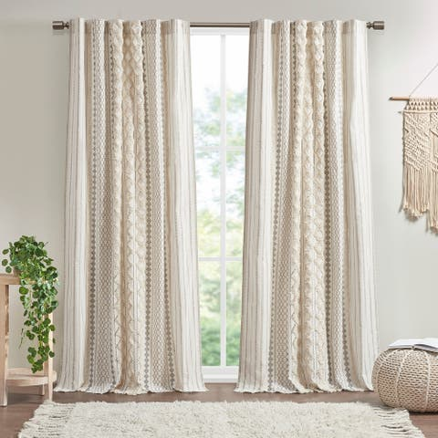 """Imani Cotton Printed Window Panel with Chenille Stripe and Lining by INK+IVY - 84"""" Panel"""