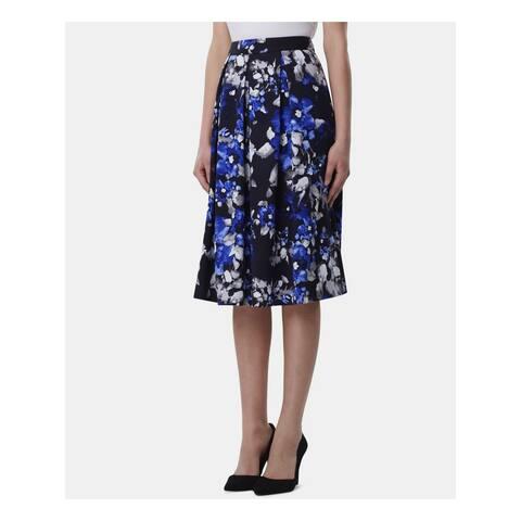TAHARI Womens Blue Floral Below The Knee Peasant Wear To Work Skirt Size: 16