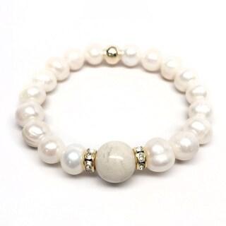 "Freshwater Pearl & Ivory Jade Joy 7"" Bracelet"