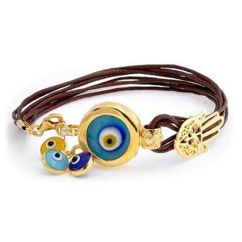 Turkish Evil Eye Hamsa Protection Brown Leather Charm Bracelet For Women For Teen 14K Gold Plated 925 Sterling Silver
