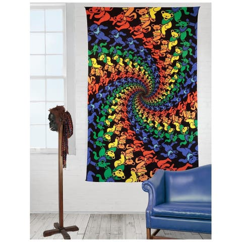 Handmade 100% Cotton Grateful Dead 3D Dancing Bears Spiral Tapestry Tablecloth Wall Art Beach Sheet Huge 60x90 Inches