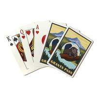 Grants Pass, OR - Beaver and Mountain - LP Artwork (Poker Playing Cards Deck)