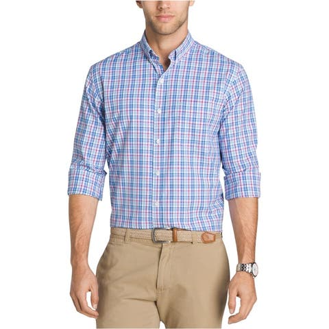 IZOD Mens Breeze Plaid Button Up Shirt, Blue, Small