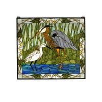 "Meyda Tiffany 62955 30"" W X 27"" H Blue Heron & Snowy Egret Stained Glass Window - n/a"