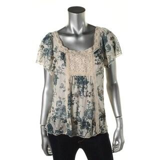 Denim & Supply Ralph Lauren Womens Lace Floral Print Pullover Top