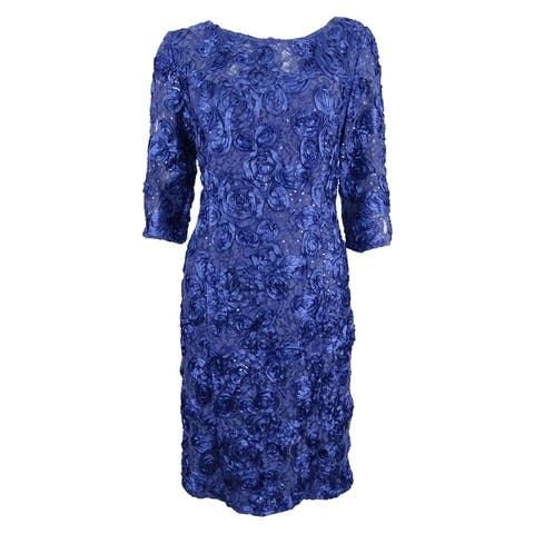 891449c406d Alex Evenings Women s Embroidered Lace Sequined Sheath Dress - Violet