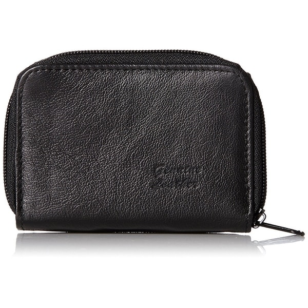 Roma Leathers Genuine Leather Mini ID & Credit Card Holder (Black) - Black