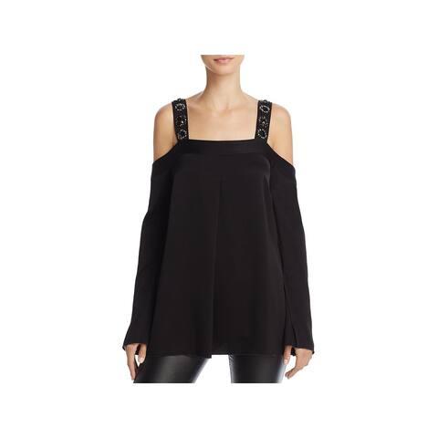 Elizabeth and James Womens Yera Emb Blouse Cold Shoulder Club Wear