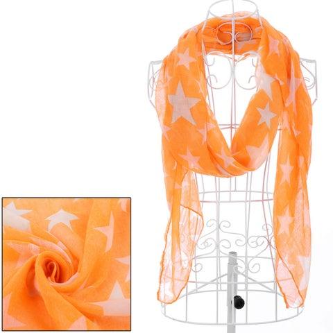 Girls Star Prints Fashionable Warm Scarf Orange White
