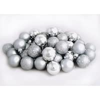 "60ct Silver Splendor Shatterproof 4-Finish Christmas Ball Ornaments 2.5"" (60mm)"