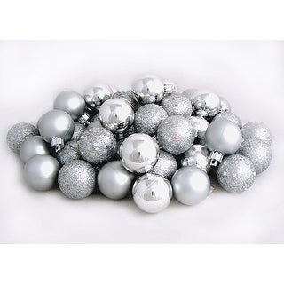 "60ct Silver Splendor Shatterproof 4-Finish Christmas Ball Ornaments 2.5"" (60mm)"