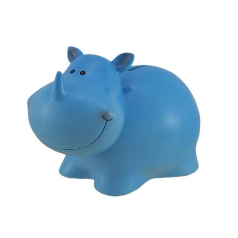 Delightful Blue Rhinoceros Kids Coin Bank - 4.75 X 7.25 X 4.25 inches