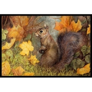 Carolines Treasures BDBA0097MAT Grey Squirrel in Fall Leaves Indoor or Outdoor Mat 18 x 27