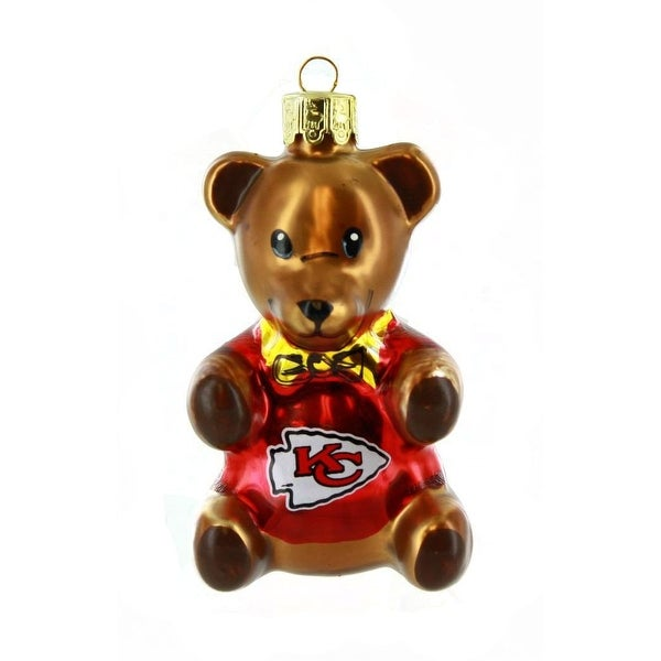 "Kansas City Chiefs 3.5"" Blown Glass Teddy Bear Ornament"
