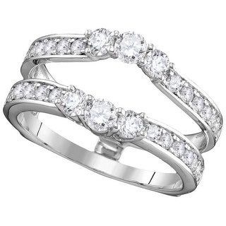 14kt White Gold Womens Round Natural Diamond Ring Guard Wrap Solitaire Enhancer 1.00 Cttw