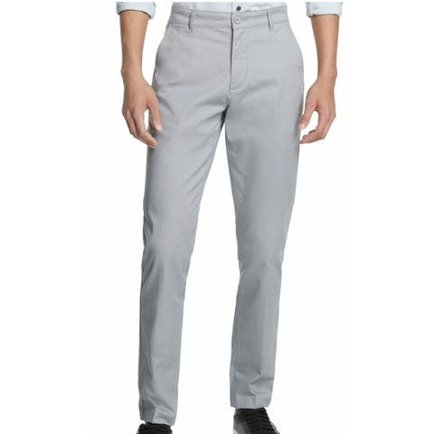 DKNY Mens Chino Pants Gray Size 40x30 Straight-Fit Tapered Leg Stretch