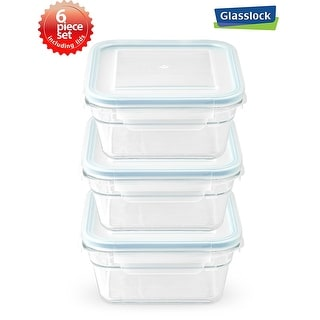 Glasslock Airtight Square Food Container 6 Piece Set (3.3cups/781ml)