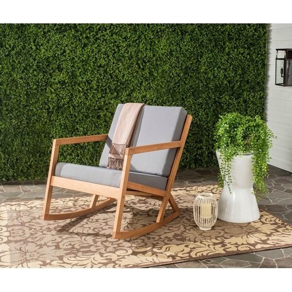 Safavieh Outdoor Living Vernon Grey/ Tan Eucalyptus Rocking Chair. Opens flyout.