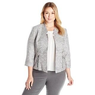 Kasper Plus-Size Tweed Flyaway Jacket with Zipper Detail Gray/Blue/Peach - 22W