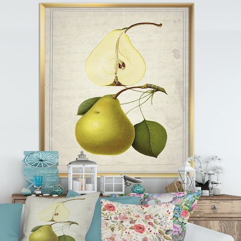 Designart 'Pear Old Style Sketch I' Cottage Framed Art Print