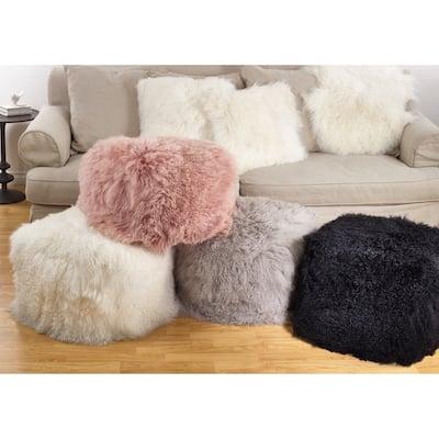 Mongolian Lamb Fur Wool Pouf Ottoman