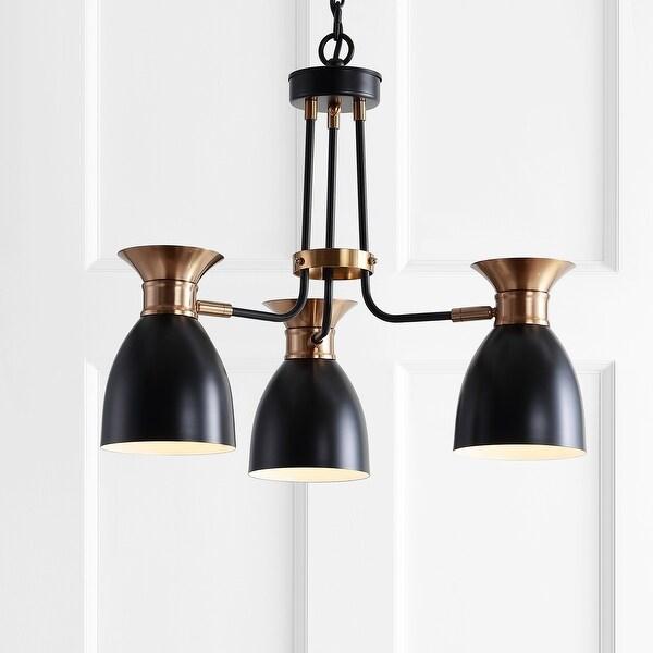 "Middleton 20"" 3-Light Metal LED Pendant,Black/Brass Gold by JONATHAN Y. Opens flyout."
