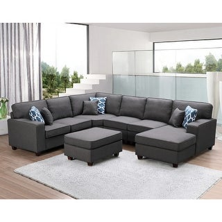 Link to Willowleaf Dark Gray Linen 7-piece Modular Sectional Sofa Similar Items in Living Room Furniture