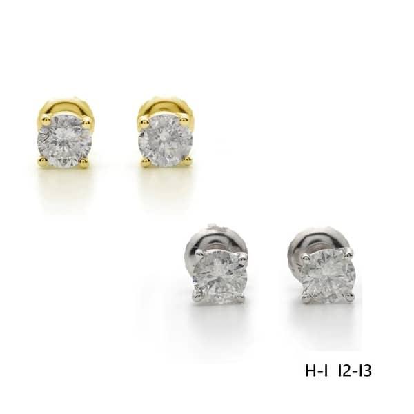 1.40 grams 18k solid white gold 8 mm earring earrings diamond cut ball stud #65