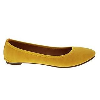 Angelina Adult Yellow Almond Toe Small Heel Platform Classic Flats