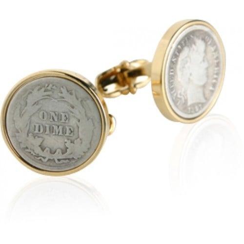 Barber Dime Cufflinks Coin Collector Memorbilla