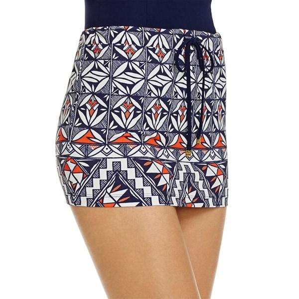 Tory Burch Womens Printed Drawstring Skirt Swim Cover-Up