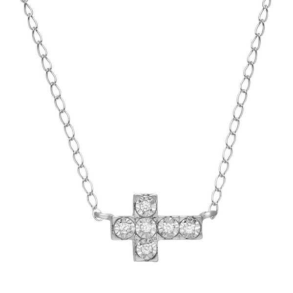 Sideways Cross Necklace with Diamonds in Sterling Silver