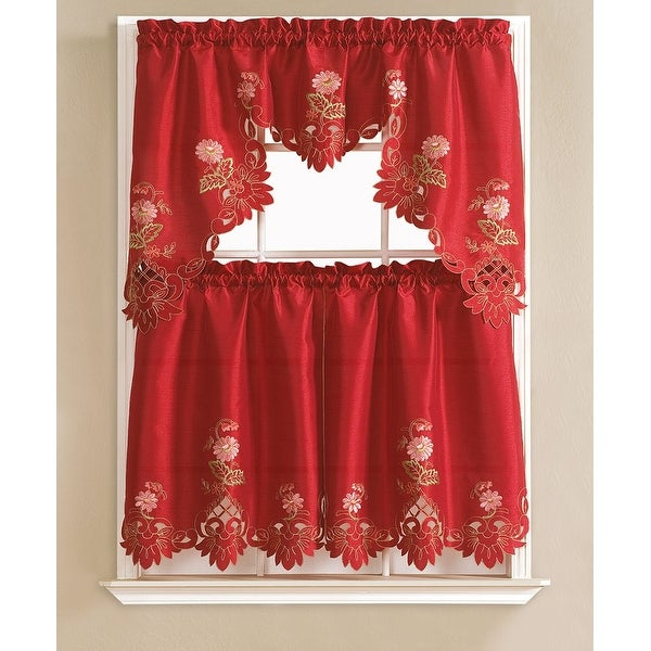 Cindy Flower Embroidered 3-Piece Kitchen Curtain Swag & Tiers Set, Burgundy, 60x36 & 30x36 Inches