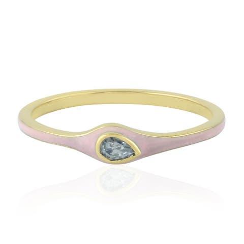 Natural Diamond Band Ring 14k Yellow Gold Enamel Jewelry