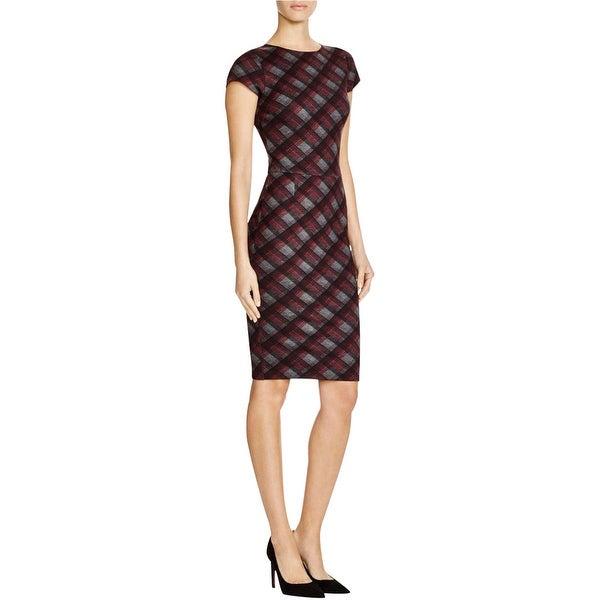 Aqua Womens Bodycon Dress Textured Plaid